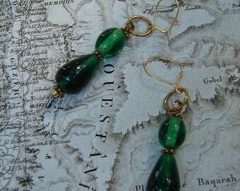 Pierced Earrings Emerald Green Glass Drops