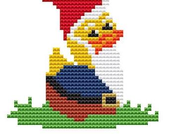 Cross Stitch Kit,  'Gnome Duck',  Cross Stitch Pattern, Duck Stitching, Counted Cross Stitch, Modern Sewing, Beginners Set, Rubber Duck KIT