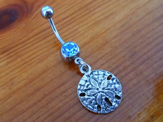 Belly Button Ring - Silver Sand Dollar Belly Button Ring