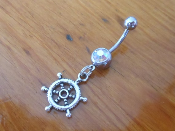 Belly button ring Piercing - Body Jewelry - Silver Ships Wheel Belly Button Ring