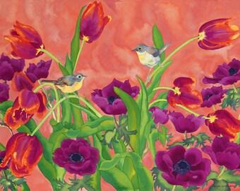 Spring Birds Tulips Anemones Watercolor Painting, Common Yellowthroats Garden Flowers Fine Art Print