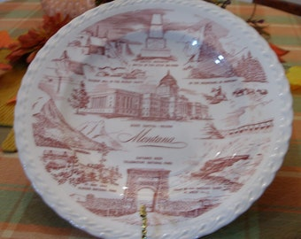 Vintage Montana State Collector Plate by Vernon Kilns Pottery FREE SHIPPING