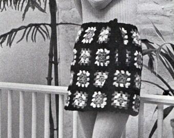 Crochet Granny Square Skirt Pattern 1960s Hippie Vintage Crocheting PDF PATTERN