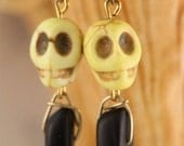 Bright Yellow Skull and Black Sea Glass Dagger Brass Earrings