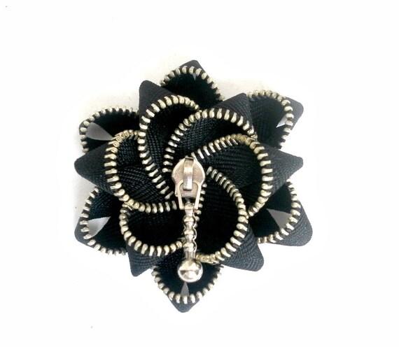 unique gifts, zipper brooch, black zipper,  Zipper Pin. 2.8 in/ 7 cm,eco friendly, recycled jewelry