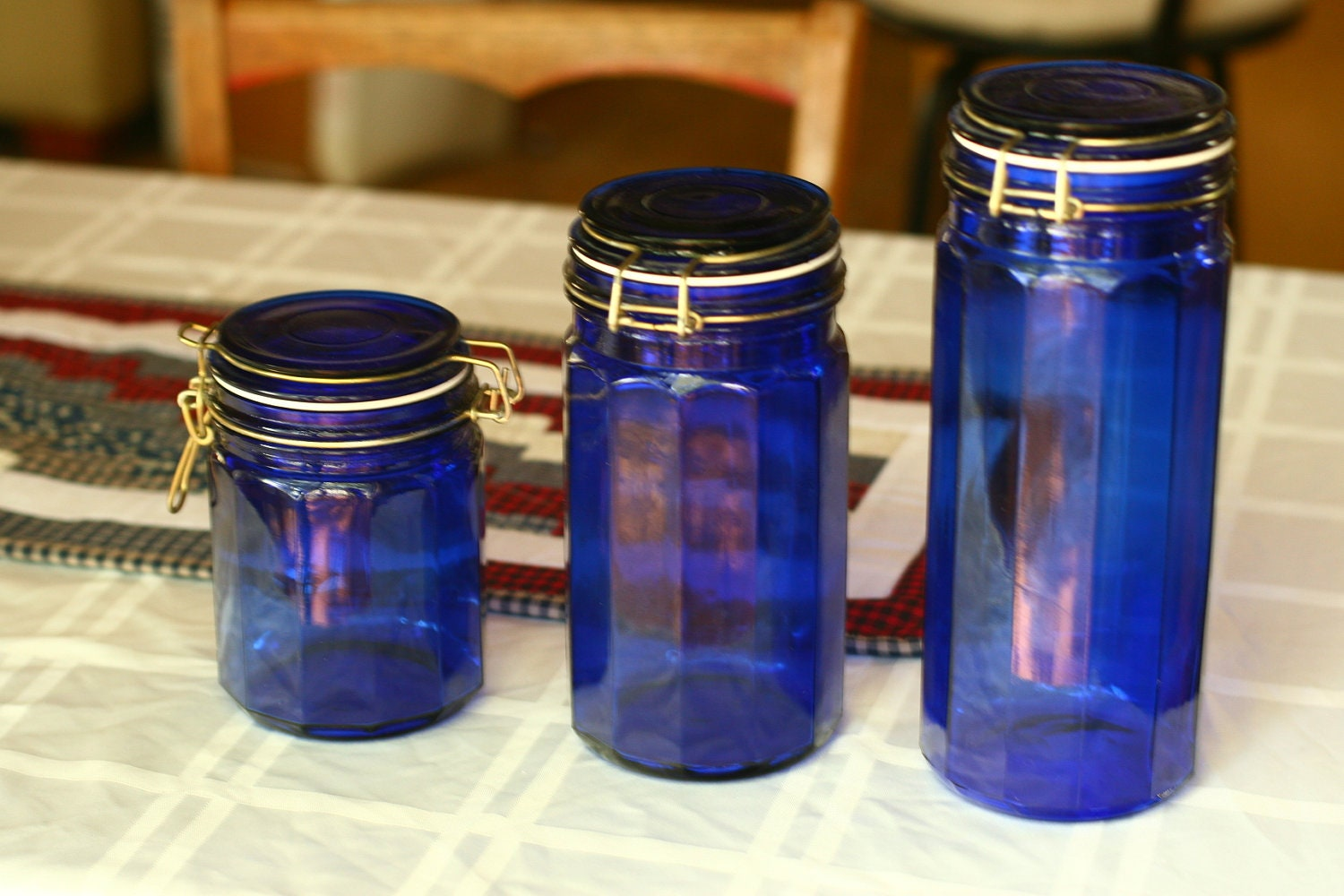 Final sale 3 vintage blue glass canisters storage jars blue - Blue glass kitchen canisters ...