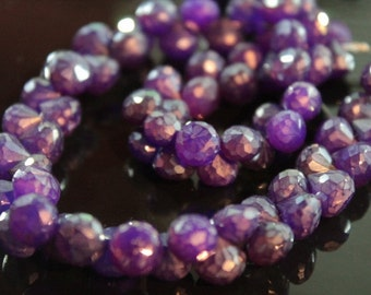 Purple Mystic Chalcedony Faceted Onion Briolettes, 7 - 8 mm, 6 beads (GM0718FO)