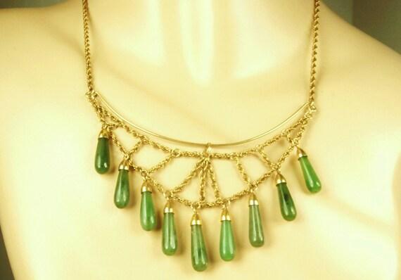 Jade Art Deco Bib Fringe Necklace