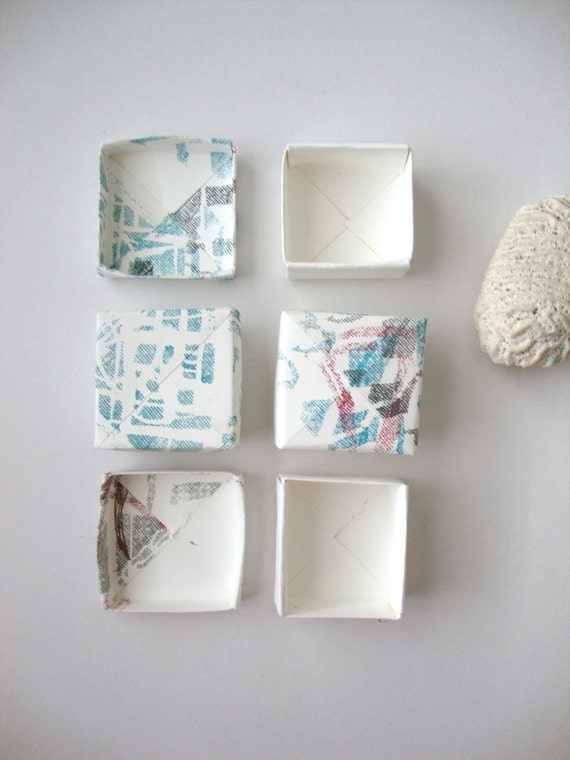 Set of 4 screen printed boxes: Mesh Quilts small set of handmade printed gift boxes jewelry boxes
