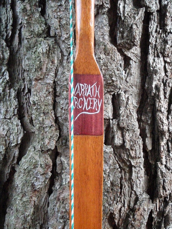 "CLEARANCE Brazilian Cherry, Purpleheart & Bamboo bow, 39lb at 28"", traditional wood archery bow"