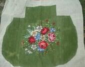 RESERVED for bek99 SALE 1/2 OFF antique needlepoint seatcover needle point red  roses needlepoint seatcover vintage