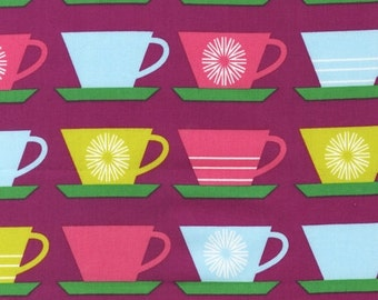 Robert Kaufman - Happy Home Collection by Print and Pattern - Retro Cups and Saucers - Magenta Purple