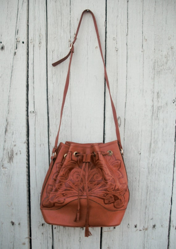 1970s deadstock tooled leather satchel