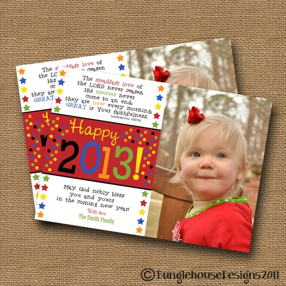 New Years Card DIY PRINTABLE New Years Photo Card Christian Scripture Bible Verse Card