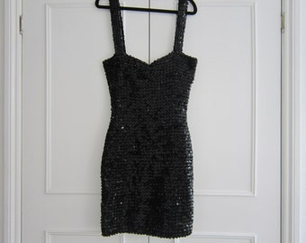 Black Sequin Sexy Slinky Dress