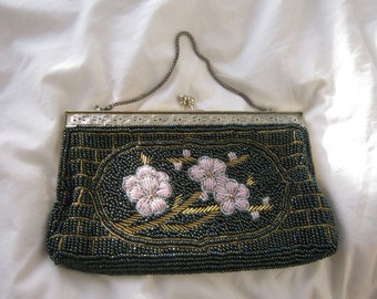 80's Antique Inspired Beaded Evening Bag