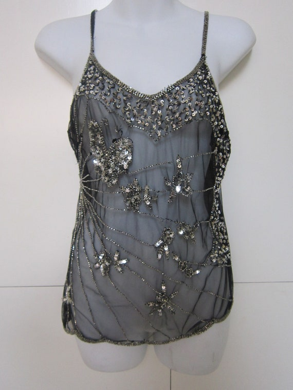 90's Black Sheer Top with Silver Sequins