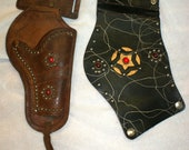 Vintage Leather Childs Cowboy Holster, Gauntlet Cuffs, and Belts