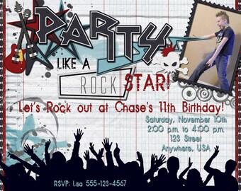 Rock Star Birthday Party Invitation