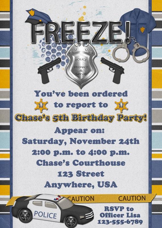Police Officer Birthday Party Invitation