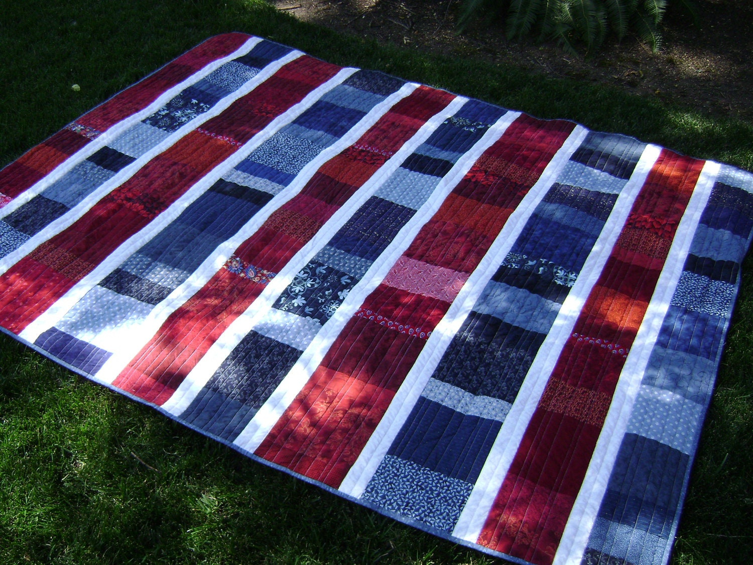 Red White Blue Large Lap Single Or Twin Quilt Handmade