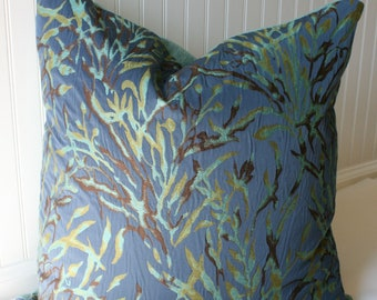 SALE / IN STOCK / Contemporary Floral Pillow Cover 22 X 22 Blue and Green with turquoise back