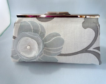 Grey Floral Clutch for Weddings, Proms, Evenings or Special Occasions Grey Bridal Clutch