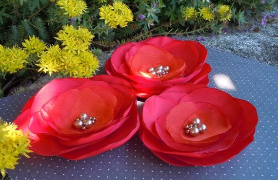 Wedding Sash Red Orange Fall Wedding Hair Dress Accessory Bridal Corsage for Brides, Bridesmaids, Flower Girls
