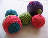 Crochet ball baby toy set