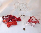 White Suspenders n Red BowTie Combo.....Adjustable will fit Older Inf,Tod,Child..Weddings, Ring Bearer,Party
