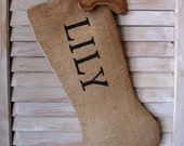 Burlap Dog Stocking FREE SHIPPING- Burlap Pet Christmas Stockings- Christmas Stockings- - FannyElizabethDesign
