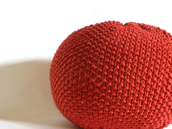 Knitted Pouf - ottoman, foot stool, floor pillow - with cayenne pepper cotton yarn
