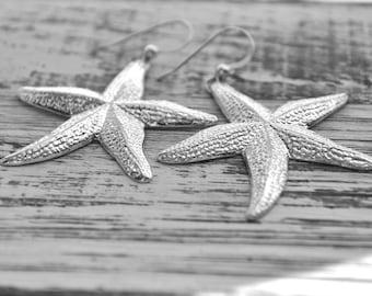 shiny silver starfish earrings