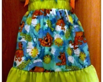 Scooby Doo Boutique Pillowcase Dress w/ Solid Top & Bottom Lime Layers
