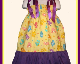 Carebears Boutique Pillowcase Dress w/ Solid Purple Layer Toddlers & Girls