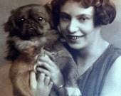 Vintage Photograph of Freda and her Pekingese Dog (1925)