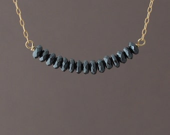 Black Hematite Beaded Necklace available in gold or silver