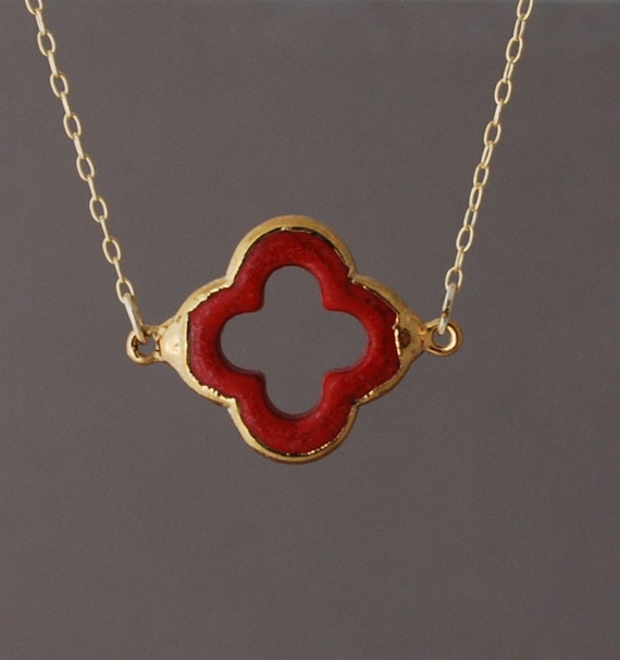 Red Coral Four Leaf Clover Gold Necklace