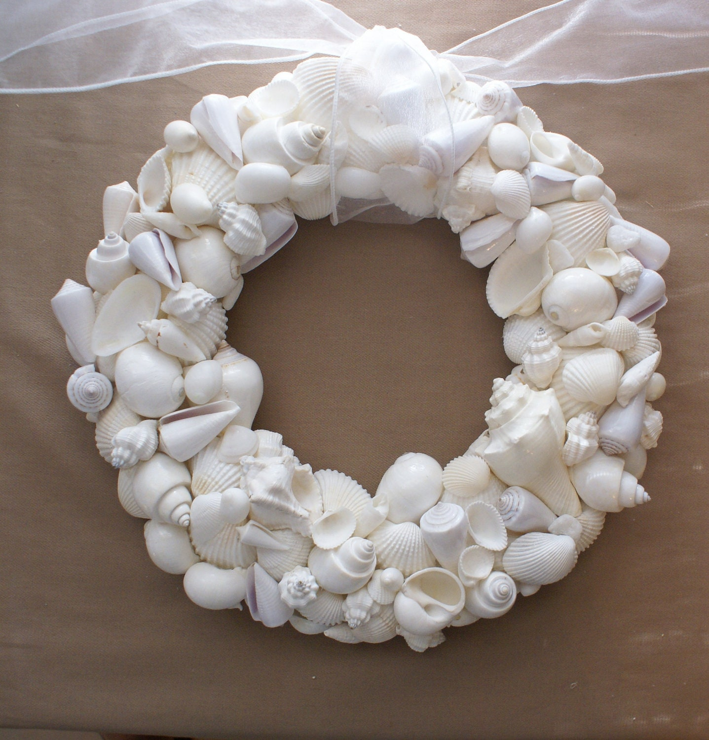 Seashell Wreath 12 Inches White Wedding