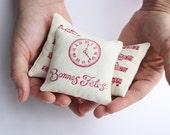 Three Organic lavender pillows with music theme hand printed fabric