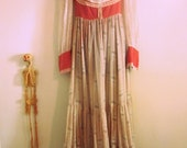 Vintage Gunne Sax by Jessica Mc Clintock Prairie Maxi Dress. Pink Empire Bodice, Sheer with Lace Up Back.  Medieval/Renaissance Revival