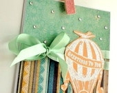Hot Air Balloon Greeting Card, Summer, Blank Inside,  Blue Green Stripes, Ribbon, Pastel, Handmade, Mint, Seafoam, Teal, Aqua, Orange-sicle