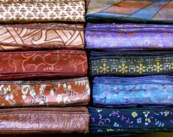 SALE! 60 Yards Silk Ribbon, Sari Ribbon, 10 colours.H77