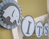 Baby Blue and Grey It's a Boy - Baby Elephant Banner - Elephant Baby Shower Decorations - Rosettes Custom Name Banner  - Custom Colors