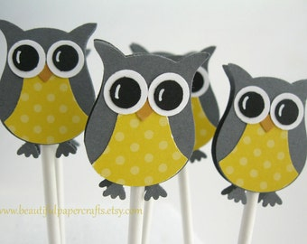 Owl Cupcake Toppers Gray and Bright Yellow - Owl Baby Shower Decorations--Set of 12