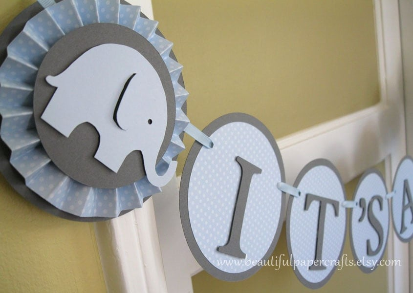baby blue and grey it 39 s a boy baby elephant banner. Black Bedroom Furniture Sets. Home Design Ideas