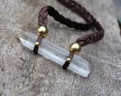 Large Crystal Quartz, Unisex Large Rough Crystal Point Necklace, Unisex, Spiritual, Healing, Tribal, Bohemian, Nature Inspired