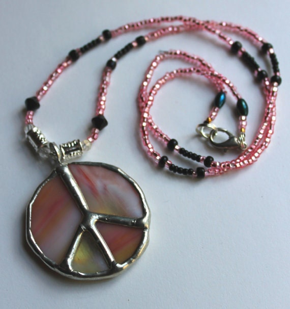 Mini stained glass art peace necklace