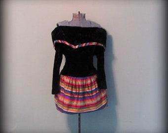 Vintage 80s Black Velvet Rainbow Skirt Off Shoulder Dress by ChuChu size Small