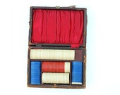 Antique Poker Chips, Guy GIFT, Bakelite Poker Chips, Early 1900's Poker Chips, Leather Wooden Case With HAnd Holding Deck of Cards, Rustic